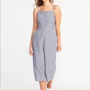 Sleeveless striped linen- blend jumpsuit